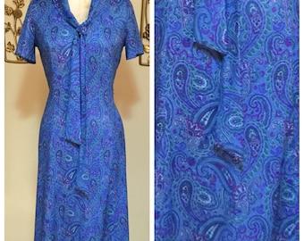 60s Vintage Blue Paisley Mod Shift Dress Medium Large
