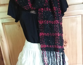 Sparkly mohair handwoven black red scarf