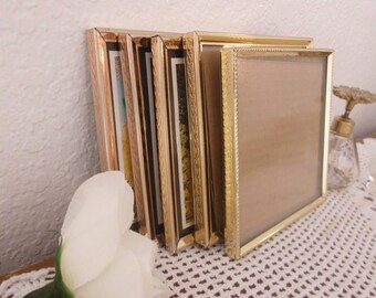 Vintage Gold Metal Picture Frame Set 3.25 x 4.25 Photo Decoration Midcentury Hollywood Regency Rustic Shabby Chic Country Cottage Home Decor