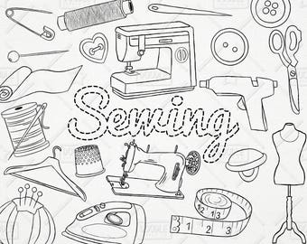 Doodle Sewing Vector Pack, Sew Craft Clipart, Handmade Clipart, Tailoring Clipart, Needle, Thread Clipart, Sewing Stickers, SVG, PNG file