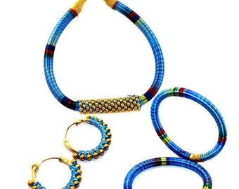 Blue Colour Silk Thread Necklace Bangle Earring Full Jewelry Set