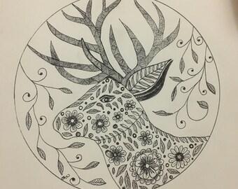Floral Deer Wall Art Print of Original Ink Drawing - Limited Edition Signed Illustration Reindeer