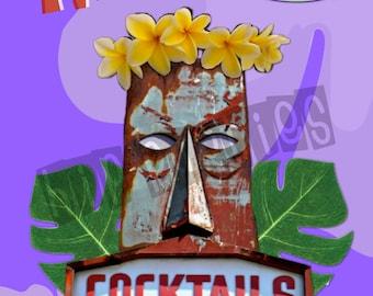 Tiki Party Decor - Tiki Bar Sign, Vintage Style