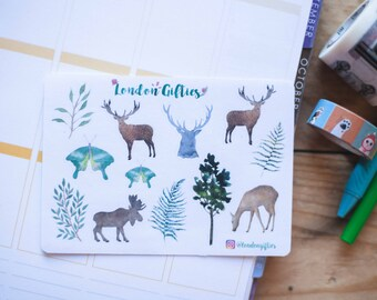 Forest animals & greens - decorative watercolour planner stickers suitable for any planner -312-