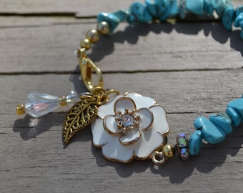 TURQUOISE CHIP FLORAL Bracelet White Enamel Flower Gold Clip Closure Genuine Turquoise Crystal and Gold Leaf Charms