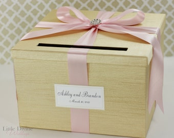 Wedding Card Box Champagne Gold and Light Pink Money Holder Customizable