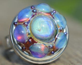 REDUCED - Collectable Artisan Handmade Lampwork Glass Snap Charm - Interchangeable Jewellery - Snap, Popper, Chunk, Button