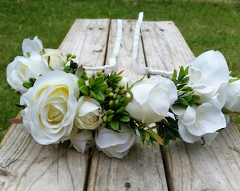 White Flower Crown Wedding Headband with Silk Roses, Hydrangea, Ivy Berry and Boxwood