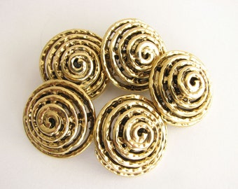 """Gold tone metal swirl buttons, Spiral buttons with shanks, 23 mm - 7/8"""" or 20 mm - 3/4""""! Unused"""