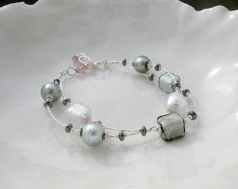 Sterling Chunky Murano Glass Bracelet