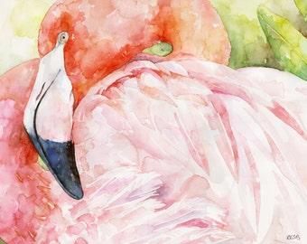 "Flamingo Painting - Print from Original Watercolor Painting, ""Queen of Hearts"", Pink Flamingo, Flamingo Print, Bird, Tropical"