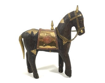 """Folk Art Carved Wood Horse Figurine with Brass Overlay Accents, 7.5"""" Vintage Wooden Horse Sculpture"""