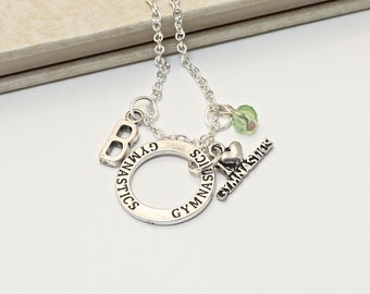 Personalized Gymnast Necklace with Your Initial and Birthstone