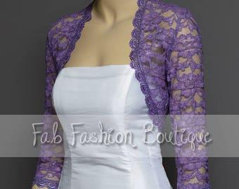 Lilac 3/4 sleeved lace bolero jacket shrug Size S-XL, 2XL-5XL