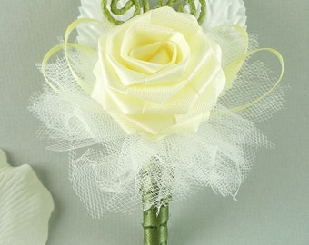 Wedding, Boutonniere, Origami Rose - Whimsical Wedding Boutonniere, Alternative Wedding, Groomsmen buttonhole