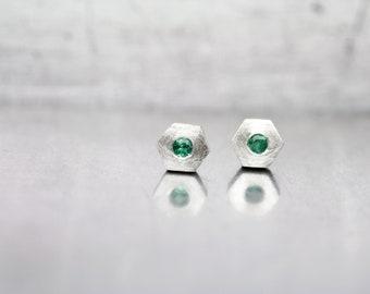 Cute Hexagon Emerald Stud Earrings May Birthstone Sterling Silver Minimalistic Genuine Green Gemstones Gift Idea For Her - Beryl Hexes