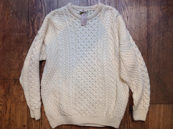 "Vintage cream off white Irish knitted wool fisherman jumper sweater honeycomb celtic aran fairisle 46"" chest outdoor hiking"