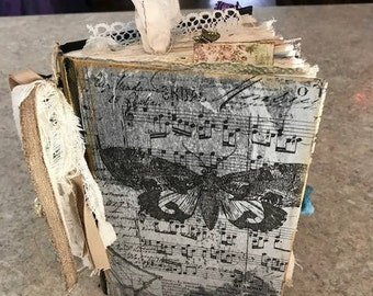 Altered Book vintage journal sewn tea dyed