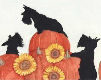 Scottish Terriers (scotties) find Halloween pumpkins / Lynch signed folk art print