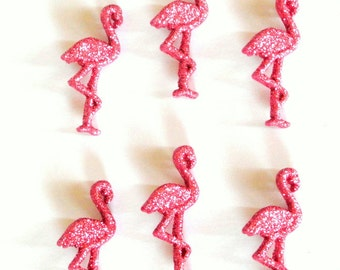 Pink Flamingo Glitter Buttons 12pc