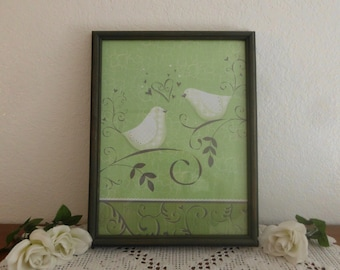 Love Bird Wall Hanging Green Grey White French Country Farmhouse Paris Apartment Romantic Southern Cottage Home Decor Wedding Decoration