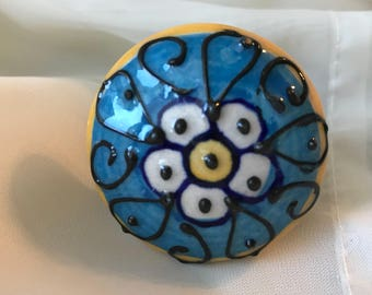 Ceramic Knobs Blue Floral Hand Painted Knob, Dresser Drawer Replacement Pulls,  Cabinet Supply, Item #592553021