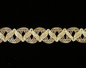 """752.2 Metallic gimp trim """"U-loop with Zig"""" antique-gold - 5/8"""" (16mm), gold metallic trim, antique-gold gimp, Renaissance trim, gimp trim"""