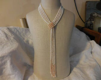 Vintage 1980s to 1990s Long White/Light Pink Fresh Water Pearl Necklace Wrap Around Neck Slide Retro NOS