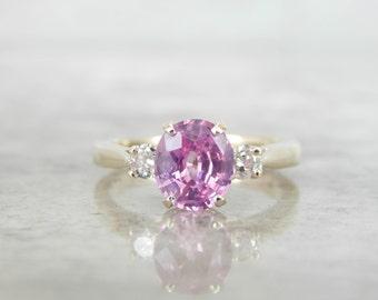 Classic Three Stone Diamond and Pink Ceylon Sapphire Ring TRY1H5-D