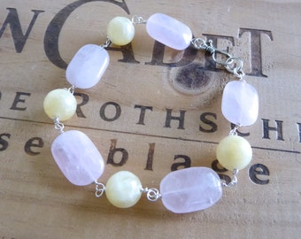 Pastel Pink and Yellow Gemstone Bracelet