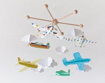 Airplane mobile, baby mobile boy, crib mobile, baby room, modern nursery, baby boy gift, airplane nursery, baby shower gift, vintage plane