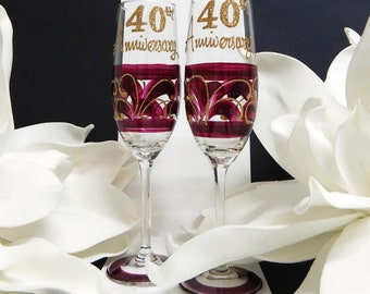 40th Anniversary Ruby Gift Ideas Champagne or Wine Glass Gift Set Hand painted in Australia Bridal Border