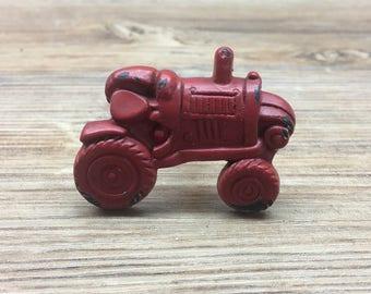 Barn Red Tractor Metal Knob - Farm Drawer Pull - Nursery Decor - Country Kitchen Cabinet Decor - Decorative Knob