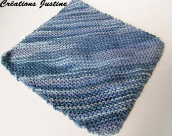 a hand knitted cotton dishcloth