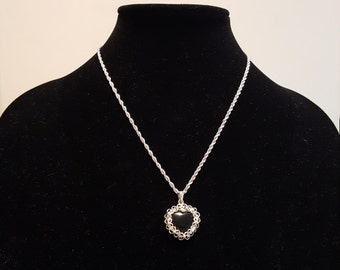 Sterling 925 heart pendant necklace 5 stones