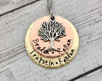 Family Tree Necklace - Mothers Day Gift for Mom - Grandmother Christmas Gift - Mixed Metals Necklace - Personalized Mother Necklace