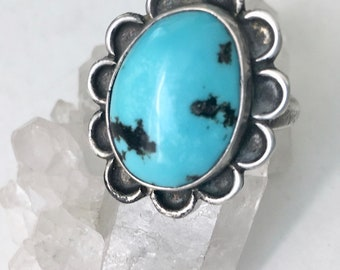 vintage turquoise flower ring, size 5