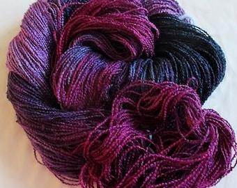 Handpainted Yarn-Soft Rayon Boucle Sport Wt. - 300 yds - DARK KNIGHT
