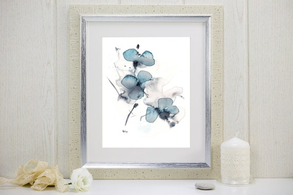 "Watercolor flower print: ""Indigo Blossoms"""