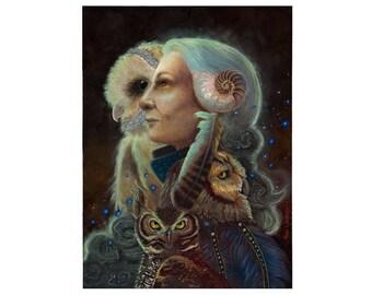 Mother Night Owl Art and Crone Goddess Art Print