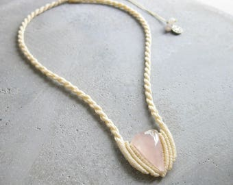 Rose Quartz Rope Necklace  . Modern Boho Macrame Jewelry . Fiber Textile Jewellery . Design by .. raïz ..