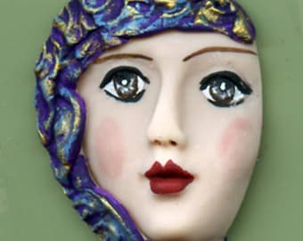 SALE !     Polymer Clay One of a Kind   Detailed Face Cab with texture Un Drilled NFH 2