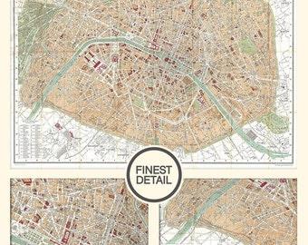 """Plan de Paris - Old map of Paris - Vintage Map of Paris (1892) - Map of Paris - LARGE archival print up to 42"""" x 50"""", 047"""