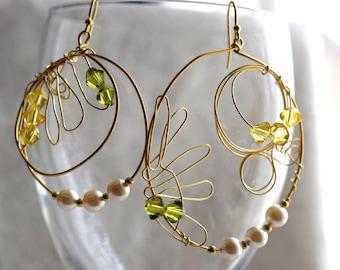 Gold Hoop Earrings, Gold Sunflower Earrings, Playful Mismatched Earrings, Pearls and Crystals Hoop Earrings