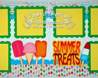 Scrapbook Page Kit Layout Summer Treats Ice Cream Popsicle Boy Girl 2 page Scrapbook Layout Kit 51