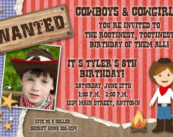 Cowboy Printable Birthday Party Invitation -- Western -- Photo -- Custom Digital File