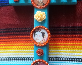 Blue Frida Kahlo Wooden Cross