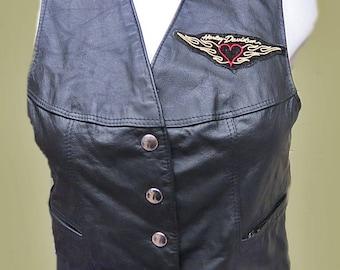 Womans Black leather Vest  Bristal /size 12  #378