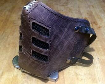 "Leather MasK ""killer bug"" [Legend motorcycle 3] by SanDiegoChopper [All brown] (designer Brown Leather Brown seams) biker / bratstyle / chopper"