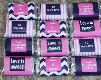 12 Hershey's Stickers - Personalized Bridal Shower Favors - Stickers for Chocolates - Custom Shower Favors